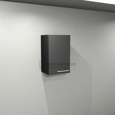Bovenkast linksdraaiend 0.40 m breed - Carbon zwart