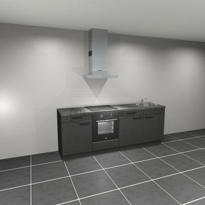 Keukenblok met apparatuur, inductiekookplaat, spoelbak rechts 2.40 m breed. - Carbon zwart