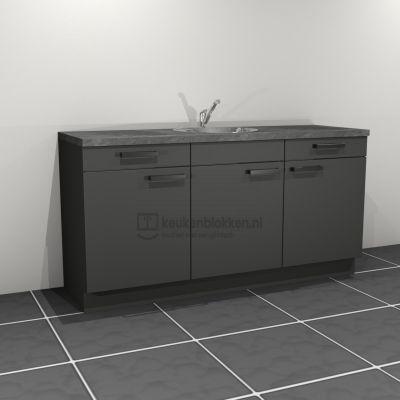 Keukenblok met spoelbak met lades 1.80 m breed - Carbon zwart