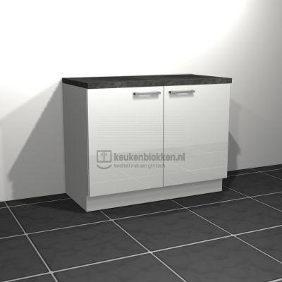 Keukenblok zonder spoelbak 1.20 m breed - Alpine wit hoogglans