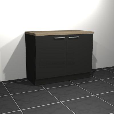 Keukenblok zonder spoelbak 1.20 m breed - Carbon zwart