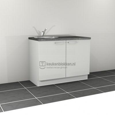 Keukenblok met spoelbak links 1.20 m breed - Alpine wit