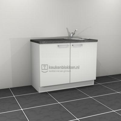 Keukenblok met spoelbak rechts 1.20 m breed - Alpine wit