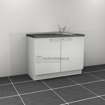Keukenblok met spoelbak rechts 1.20 m breed - Alpine wit hoogglans