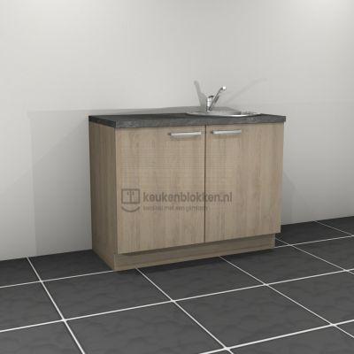 Keukenblok met spoelbak rechts 1.20 m breed - Eiken zand