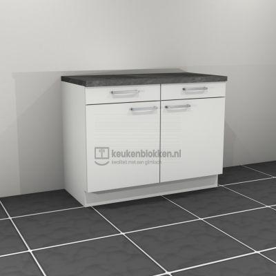 Keukenblok zonder spoelbak met lade 1.20 m breed - Alpine wit