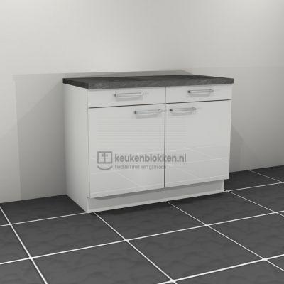 Keukenblok zonder spoelbak met lade 1.20 m breed - Alpine wit hoogglans