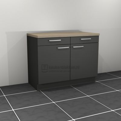 Keukenblok zonder spoelbak met lade 1.20 m breed - Carbon zwart