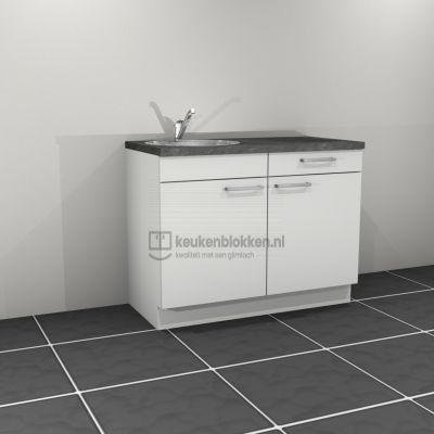 Keukenblok met spoelbak links met lade 1.20 m breed - Alpine wit