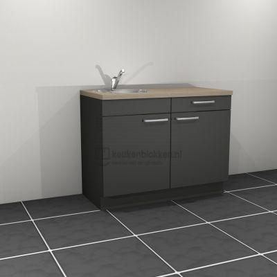 Keukenblok met spoelbak links met lade 1.20 m breed - Carbon zwart.