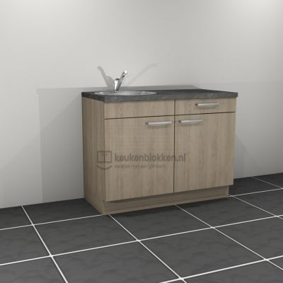 Keukenblok met spoelbak links met lade 1.20 m breed - Eiken zand
