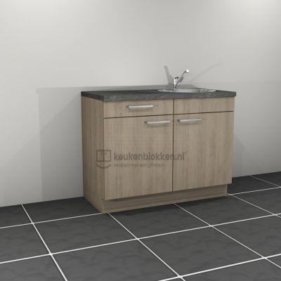 Keukenblok met spoelbak rechts met lade 1.20 m breed - Eiken zand