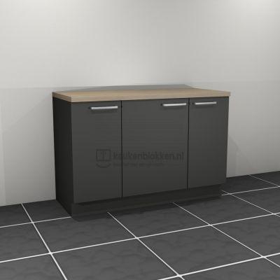 Keukenblok zonder spoelbak 1.40 m breed - Carbon zwart