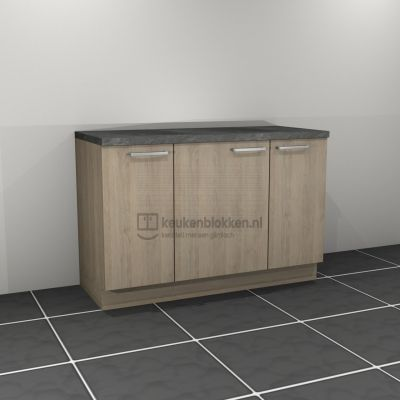 Keukenblok zonder spoelbak 1.40 m breed - Eiken zand