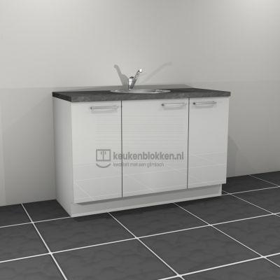 Keukenblok met spoelbak midden 1.40 m breed - Alpine wit hoogglans