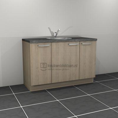 Keukenblok met spoelbak midden 1.40 m breed - Eiken zand