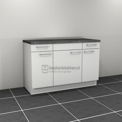 Keukenblok zonder spoelbak met lade 1.40 m breed - Alpine wit