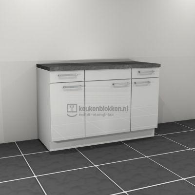 Keukenblok zonder spoelbak met lade 1.40 m breed - Alpine wit hoogglans