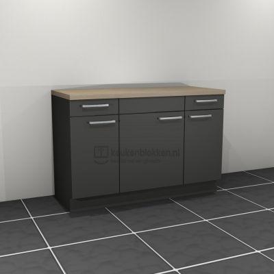 Keukenblok zonder spoelbak met lade 1.40 m breed -  Carbon zwart