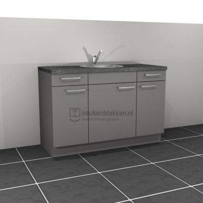 Keukenblok met spoelbak midden met lades 1.40 m breed - Onyx grijs
