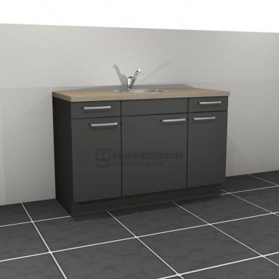 Keukenblok met spoelbak midden met lades 1.40 m breed - Carbon zwart