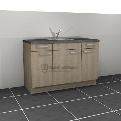 Keukenblok met spoelbak midden met lades 1.40 m breed - Eiken zand