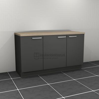 Keukenblok zonder spoelbak 1.60 m breed - Carbon zwart