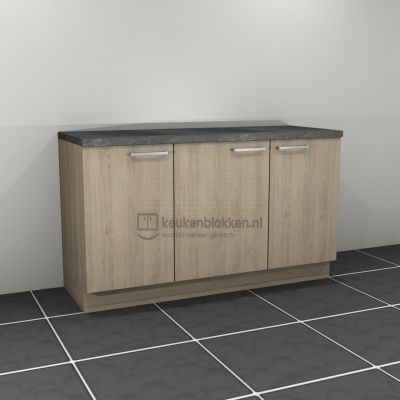Keukenblok zonder spoelbak 1.60 m breed - Eiken zand