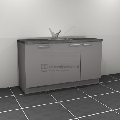 Keukenblok met spoelbak midden 1.60 m breed - Onyx grijs