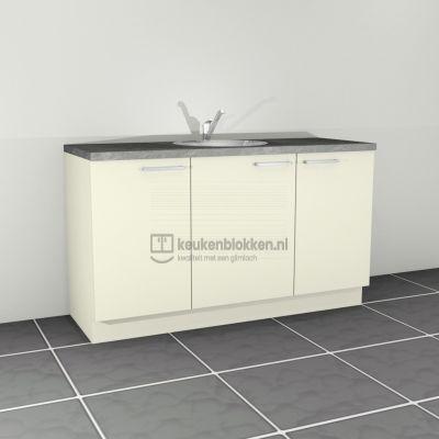 Keukenblok met spoelbak midden 1.60 m breed - Magnolia