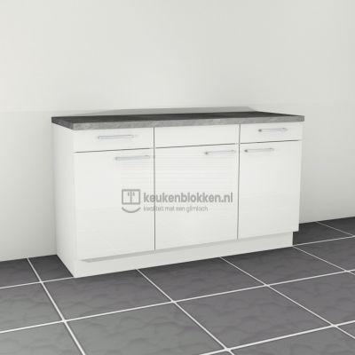 Keukenblok zonder spoelbak met lades 1.60 m breed - Alpine wit hoogglans