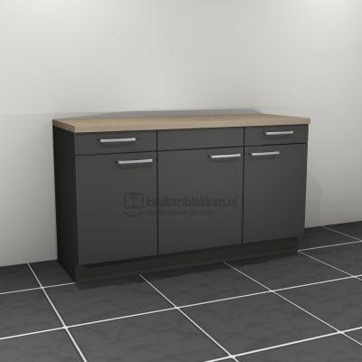 Keukenblok zonder spoelbak met lades 1.60 m breed - Carbon zwart