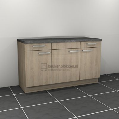 Keukenblok zonder spoelbak met lades 1.60 m breed - Eiken zand