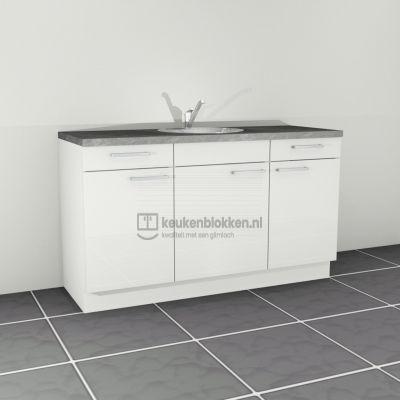 Keukenblok met spoelbak met lades 1.60 m breed - Alpine wit hoogglans