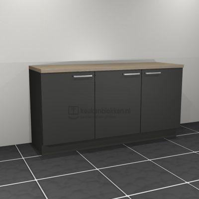 Keukenblok zonder spoelbak 1.80 m breed - Carbon zwart