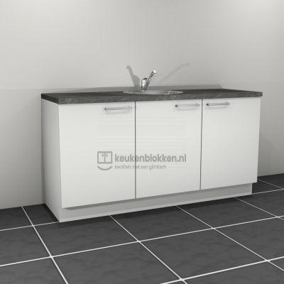 Keukenblok met spoelbak 1.80 m breed - Alpine wit