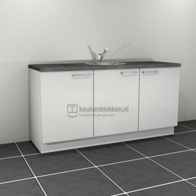 Keukenblok met spoelbak 1.80 m breed - Alpine wit hoogglans