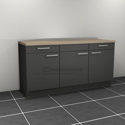 Keukenblok zonder spoelbak met lades 1.80 m breed - Carbon zwart