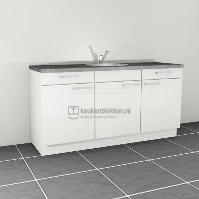 Keukenblok met spoelbak met lades 1.80 m breed - Alpine wit hoogglans