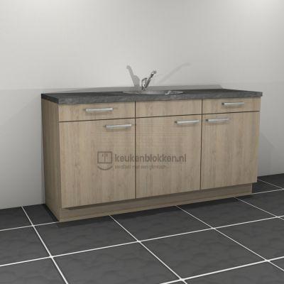 Keukenblok met spoelbak met lades 1.80 m breed - Eiken zand