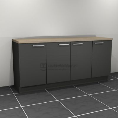 Keukenblok zonder spoelbak 2.00 m breed - Carbon zwart