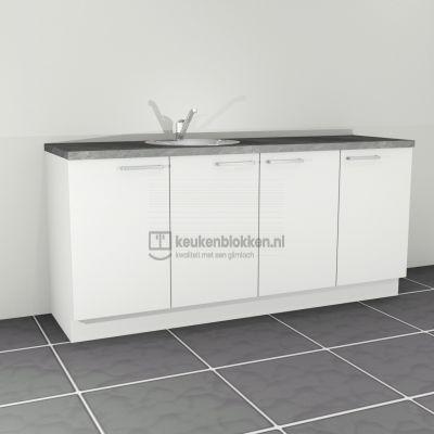 Keukenblok met spoelbak links 2.00 m breed - Alpine wit