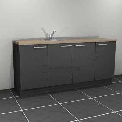 Keukenblok met spoelbak links 2.00 m breed - Carbon zwart