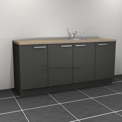 Keukenblok met spoelbak rechts 2.00 m breed - Carbon zwart