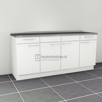 Keukenblok zonder spoelbak met lades 2.00 m breed - Alpine wit