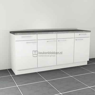 Keukenblok zonder spoelbak met lades 2.00 m breed - Alpine wit hoogglans