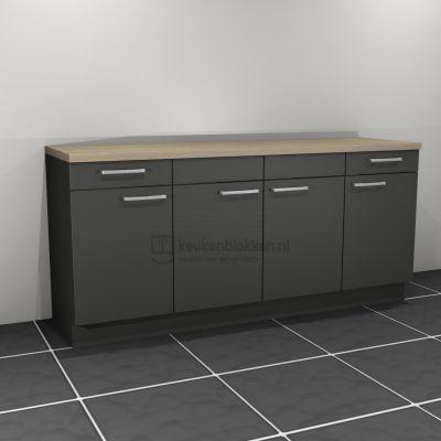 Keukenblok zonder spoelbak met lades 2.00 m breed - Carbon zwart