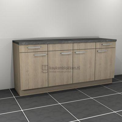 Keukenblok zonder spoelbak met lades 2.00 m breed - Eiken zand