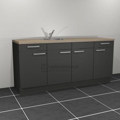 Keukenblok met spoelbak links met lades 2.00 m breed - Carbon zwart