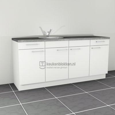 Keukenblok met spoelbak links met lades 2.00 m breed - Alpine wit (op voorraad)